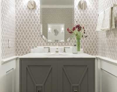 custom vanity, wainscoting, wallpaper, sconces   Powder Rooms   Pinterest   Custom vanity ...