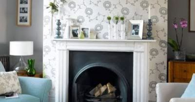 Wallpaper above the fireplace. Just needs a mirror, IMO. | Ideas for My Home | Pinterest | Paper ...