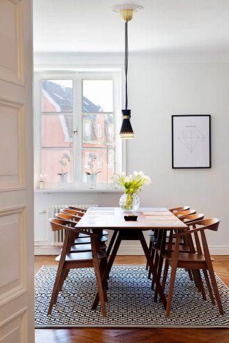 modern dining table mid century kitchen table Mid century modern dining room with a wood dining table diningroominspiration homedecor