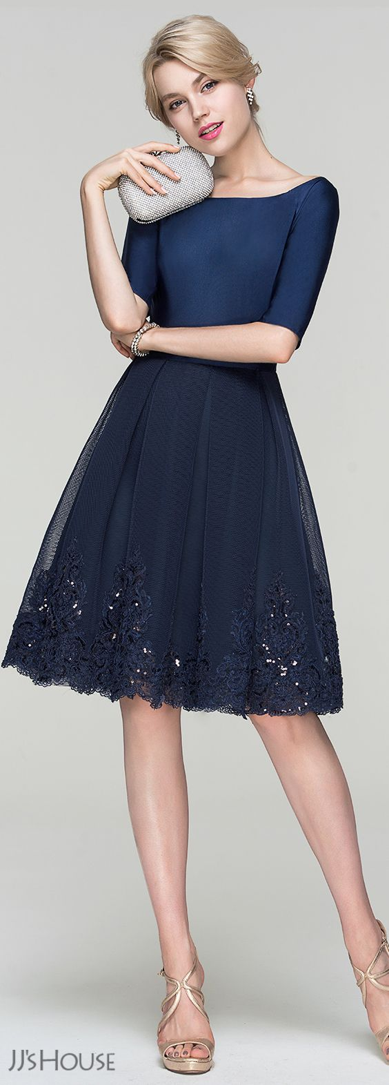 navy cocktail dress dress for wedding party A Line Princess Scoop Neck Knee Length Tulle Cocktail Dress With Sequins