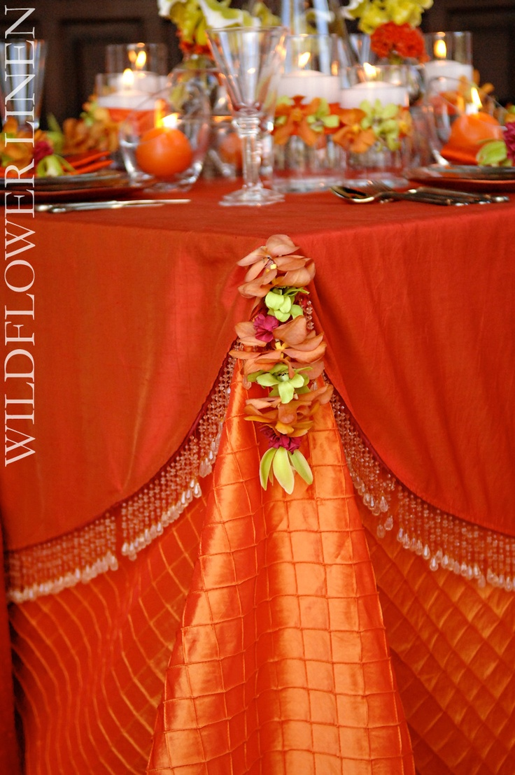 wedding linens wedding linens Orange and green wedding linens Close up on the corner Pin tuck satin with