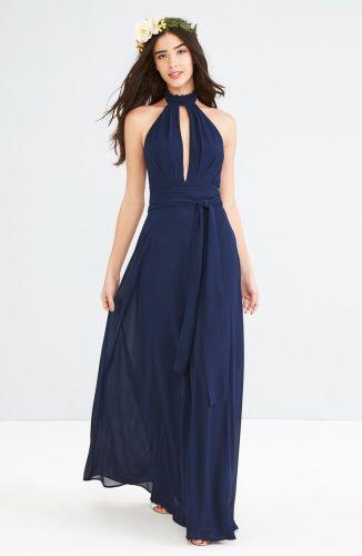 navy blue bridesmaid dresses navy wedding dress Navy Blue Maxi Dress for Weddings and Bridesmaids Ruffle Neck Halter Gown navyblue
