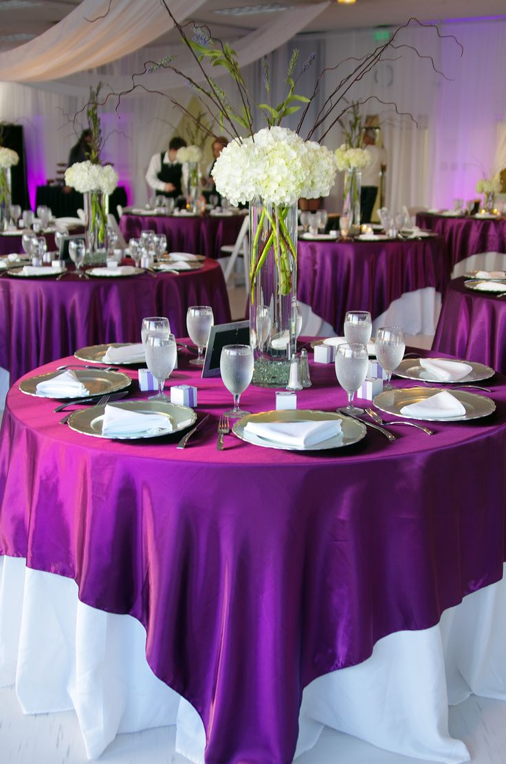 white tablecloth tablecloths for wedding White tablecloth with purple overlay one of my options Use our magenta violet satin