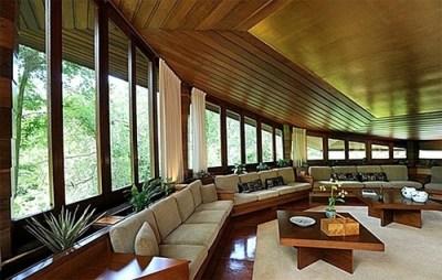 Octagonal living room, Buehler House, Orinda CA, Frank ...