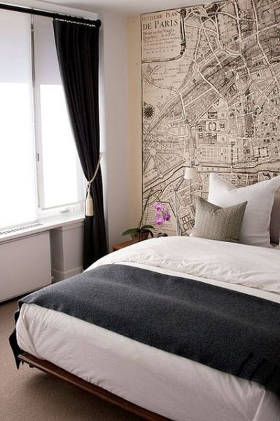 Use a vintage map or graphic wallpaper on a feature wall behind your bed | Black & White ...