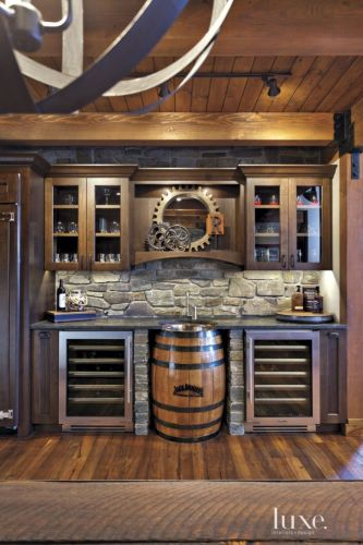 rustic kitchens rustic kitchen ideas Neutral Mountain Bar Area with Barrel Sink