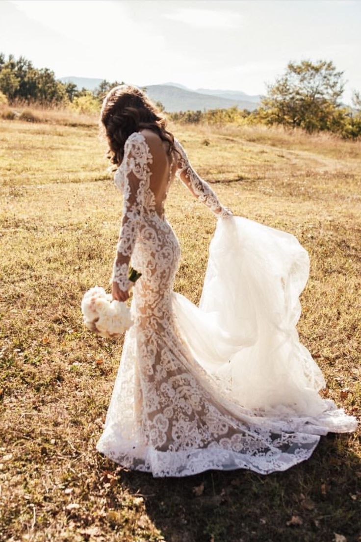 perfect wedding dress gorgeous wedding dresses wedding dress gown sleeves open back lace tule tulle bride wife outdoor wedding flower train