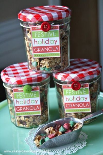 Festive Holiday Granola | Gifts in a Jar and More | Pinterest | Craft gifts, Jars and Christmas ...