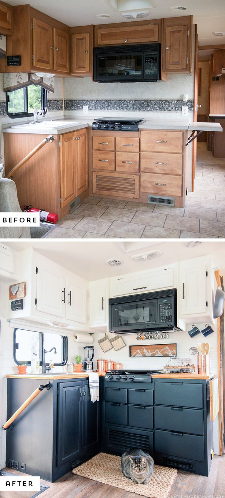 rv cabinets rv kitchen cabinets Could you live in less than square feet See how this outdated motorhome was
