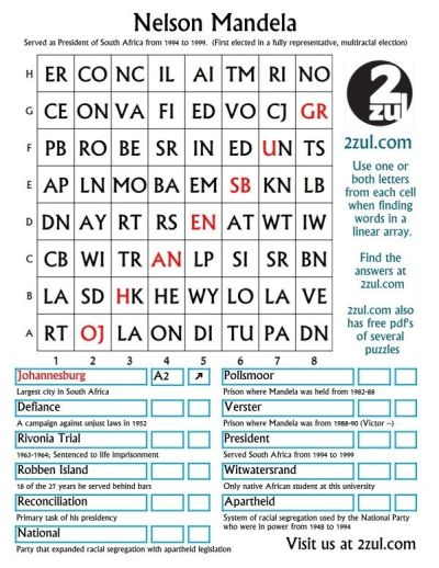 Nelson Mandela, Here is a 2zul puzzle with the category