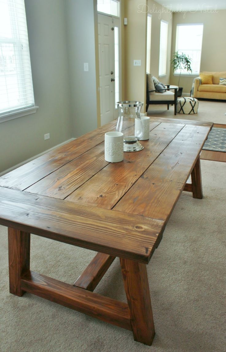 diy table legs farm style kitchen table We Built a Farmhouse Dining Room Table