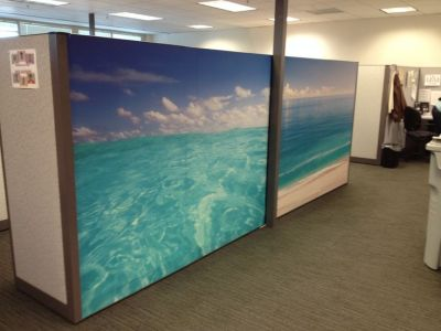 Ocean Mural Wallpaper from Dream Cubicle | Makeovers by Dream Cubicle | Pinterest | Small office ...