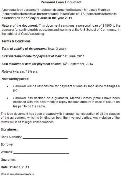 Printable Sample Personal Loan Contract Form | Laywers Template Forms Online | Pinterest