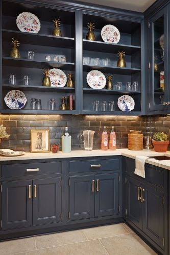 painted furniture blue cabinets kitchen Southern Living Idea House in Charlottesville VA Navy Kitchen CabinetsKitchens