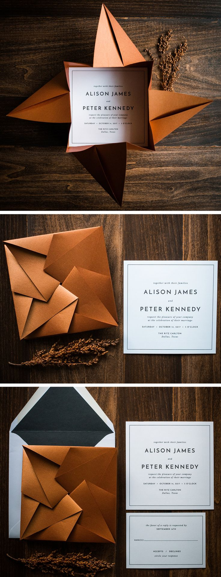 wedding invitation printing wedding invitations printing Unique Origami Wedding Invitation by Penn Paperie shown in shimmer copper and black color