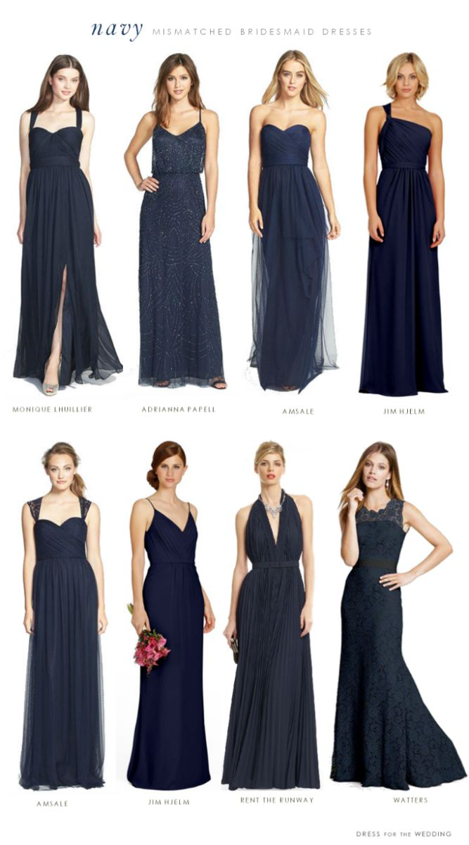 navy blue bridesmaid dresses navy blue wedding dress Mismatched Bridesmaid Dresses in Navy Blue