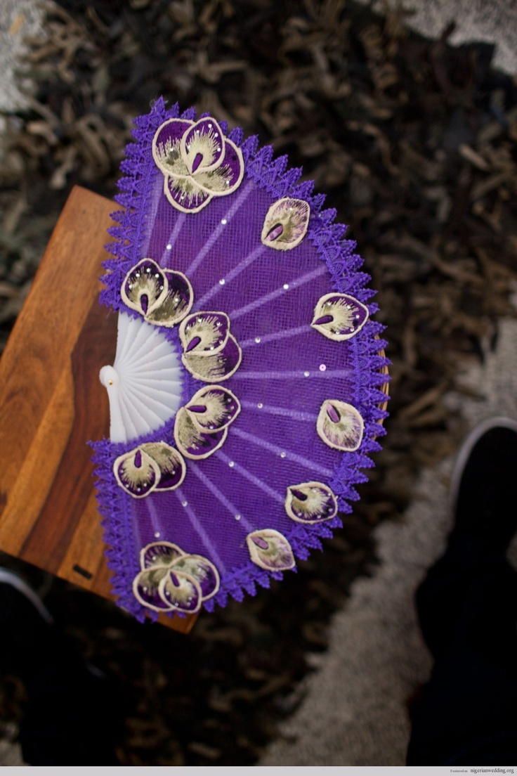 hand fans bridal nigerian weddings wedding fans Traditional Engagement Wedding purple Hand Fan Abebe Ideas Colours Nigerian Wedding