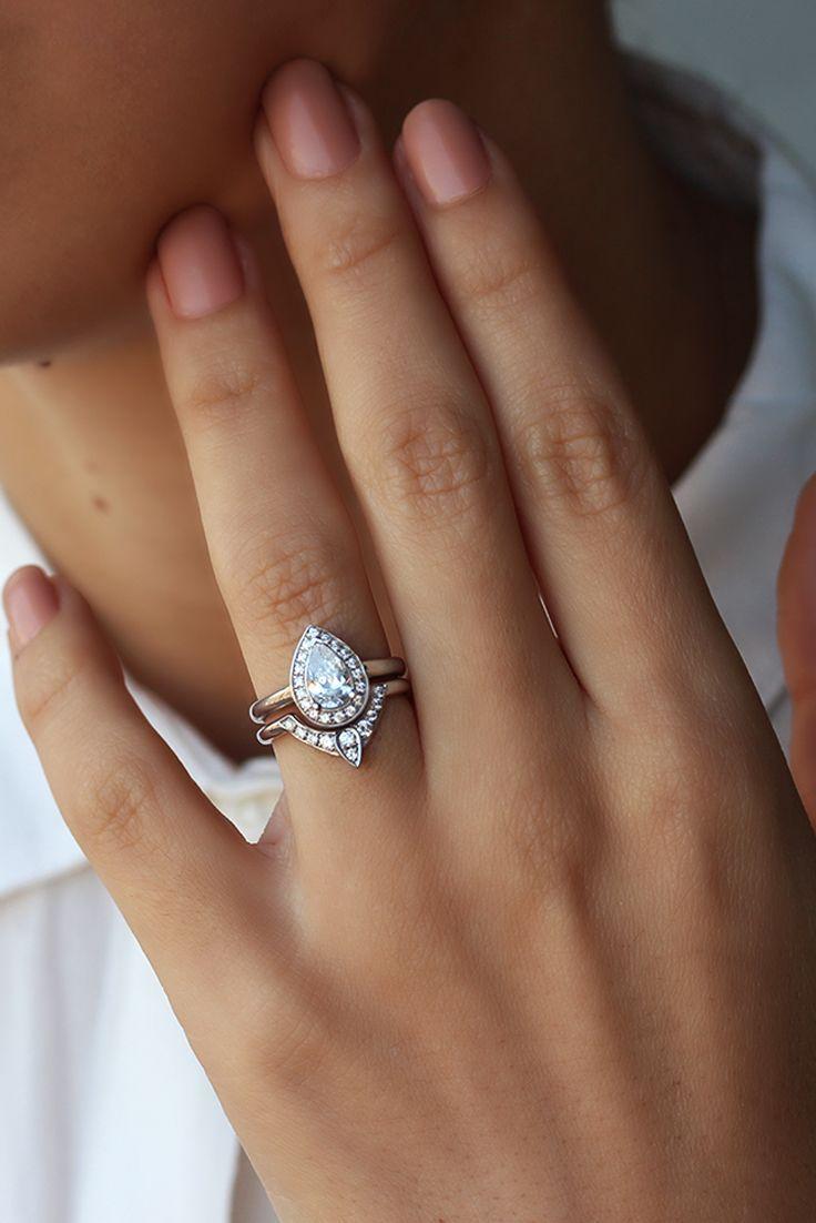 engagement rings wedding ring diamond Third Eye Pear Diamond Engagement Ring with Matching Side Band Solid Gold Rings Bridal Set Natural Diamond Rings for Women Art Deco Rings