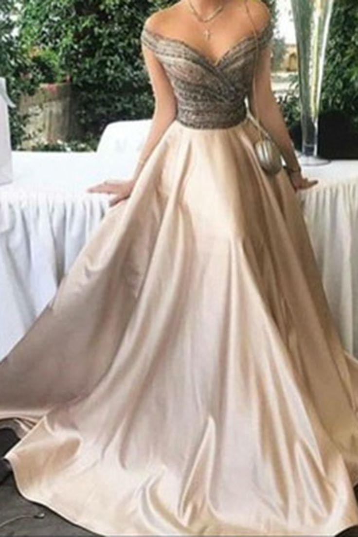 off shoulder gown elegant dresses for wedding Elegant ivory satins off shoulder A line long prom dresses evening dresses from QPromdress