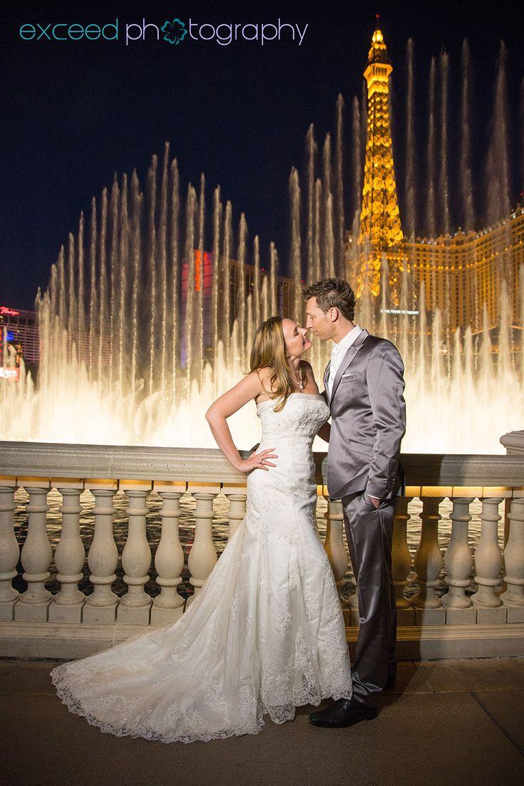 las vegas wedding ideas vegas wedding packages Las Vegas Strip Wedding Photo Tour Bellagio Fountains Exceed Photography