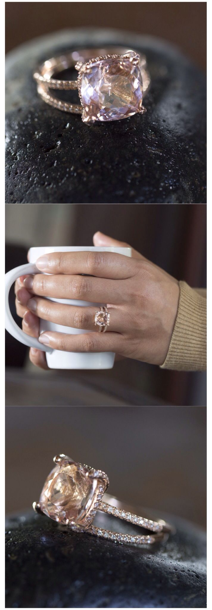 morganite ring morganite wedding ring set Cushion Cut Morganite Engagement Ring with Diamond Side Halo Shank from Laurie Sarah Designs