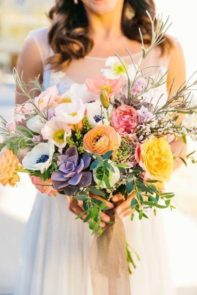 Bridal bouquet spring summer flowers purple succulent ...