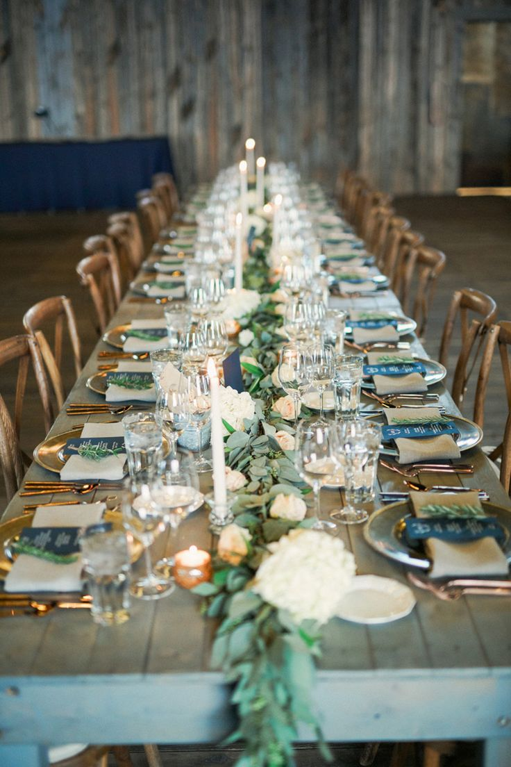 wedding tables wedding table centerpieces A strapless wedding gown for a winter wedding at Blue Sky Ranch Blue and gold colour palette