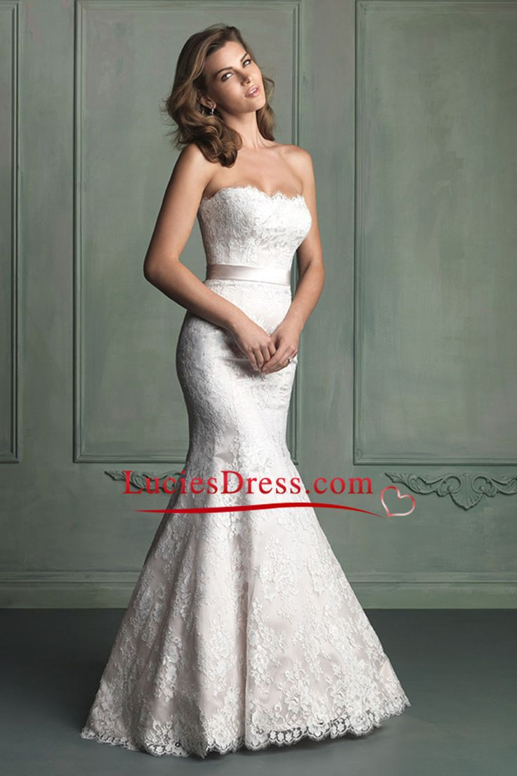 wedding dress trumpet wedding dress Strapless Mermaid Trumpet Wedding Dress Lace Bodice With Sash