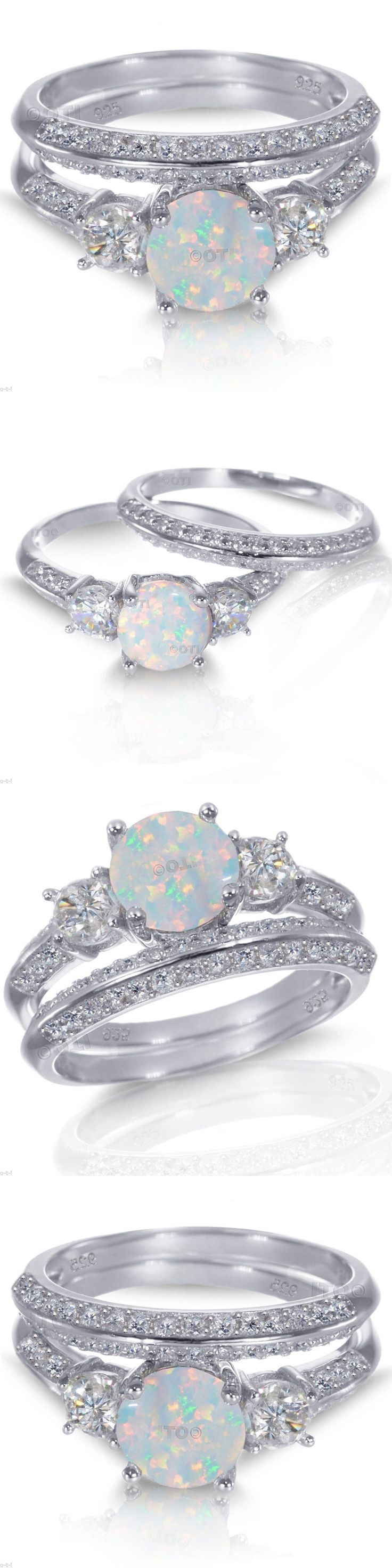 opal engagement rings opal wedding ring sets Rings White Gold Sterling Silver Round Cut White Fire Opal Wedding Engagement Ring Set