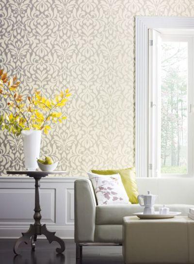 Candice Olson Shimmering Details Pattern Number: DE8887 Whisper Wallpaper. Gray and White Damask ...