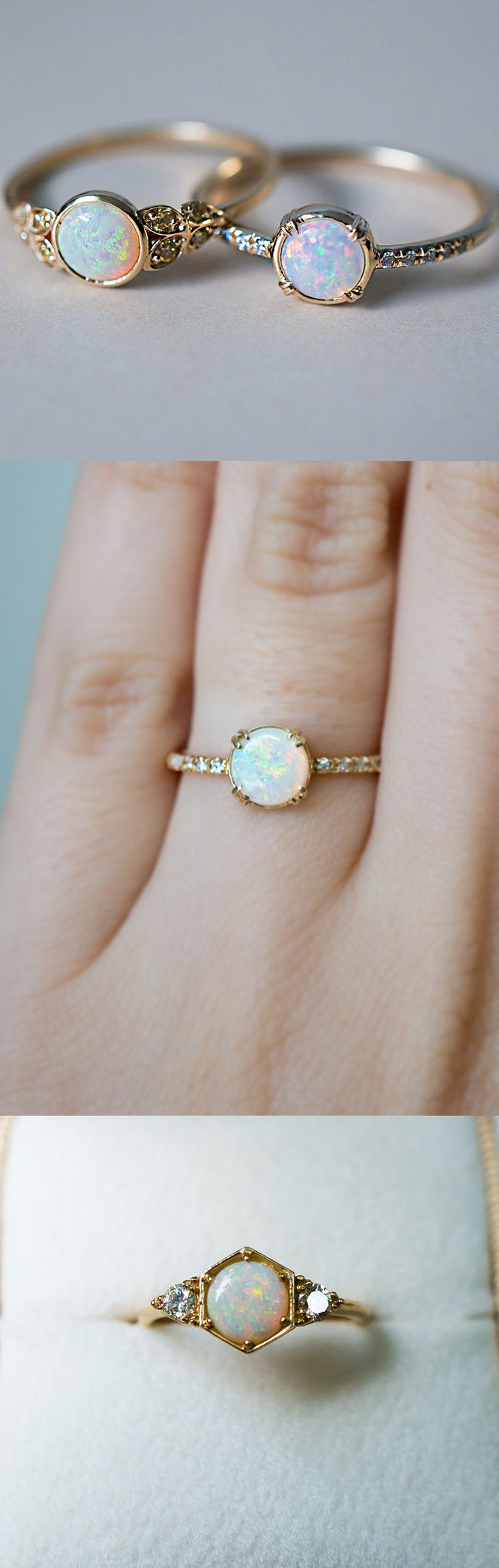 opal engagement rings opal wedding ring sets One of a kind Opal engagement rings inspired by vintage style Handcrafted by S