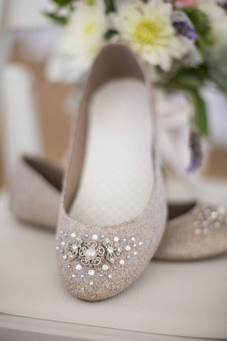 wedding ideas wedding flats Embellished tan bridal flats Craig Hodge Photography Theknot com