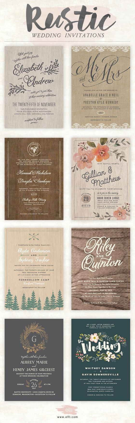 rustic wedding invitations photo wedding invitations Rustic wedding invitations bellacollina com Bella Collina Weddings