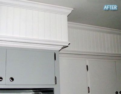 Sofit disguised with crown molding and beadboard. | Crafts and Decorating | Pinterest | Cabinets ...