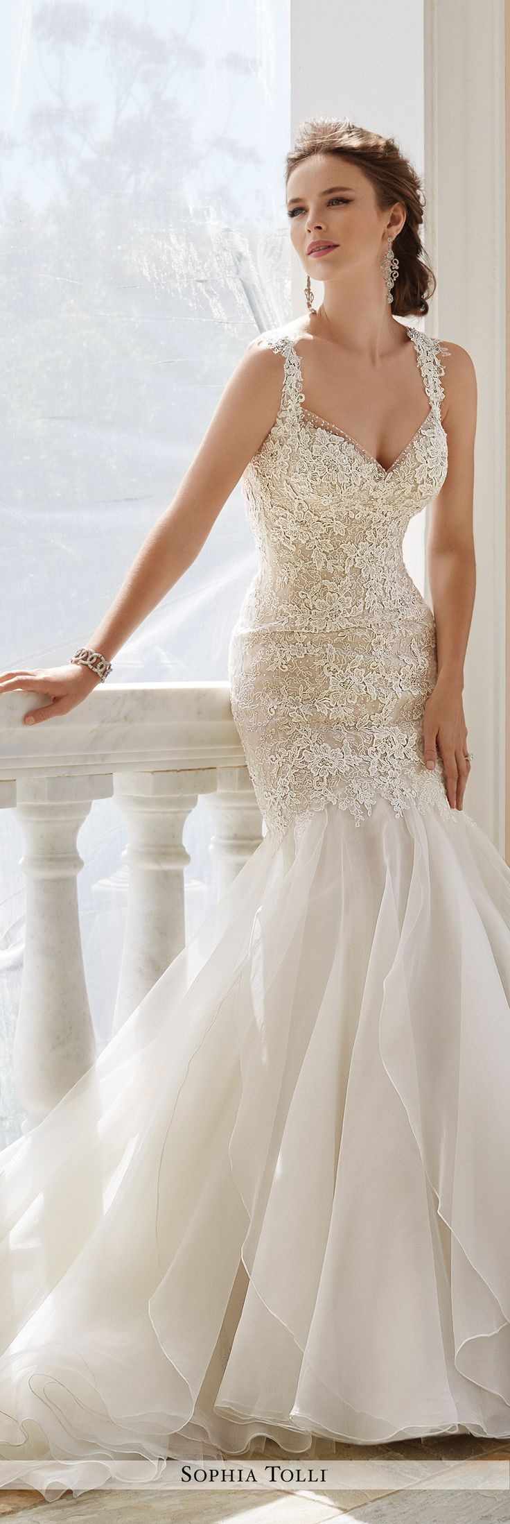 wedding dresses trumpet wedding dress Sophia Tolli Fall Wedding Gown Collection Style No Y Aprilia sleeveless lace