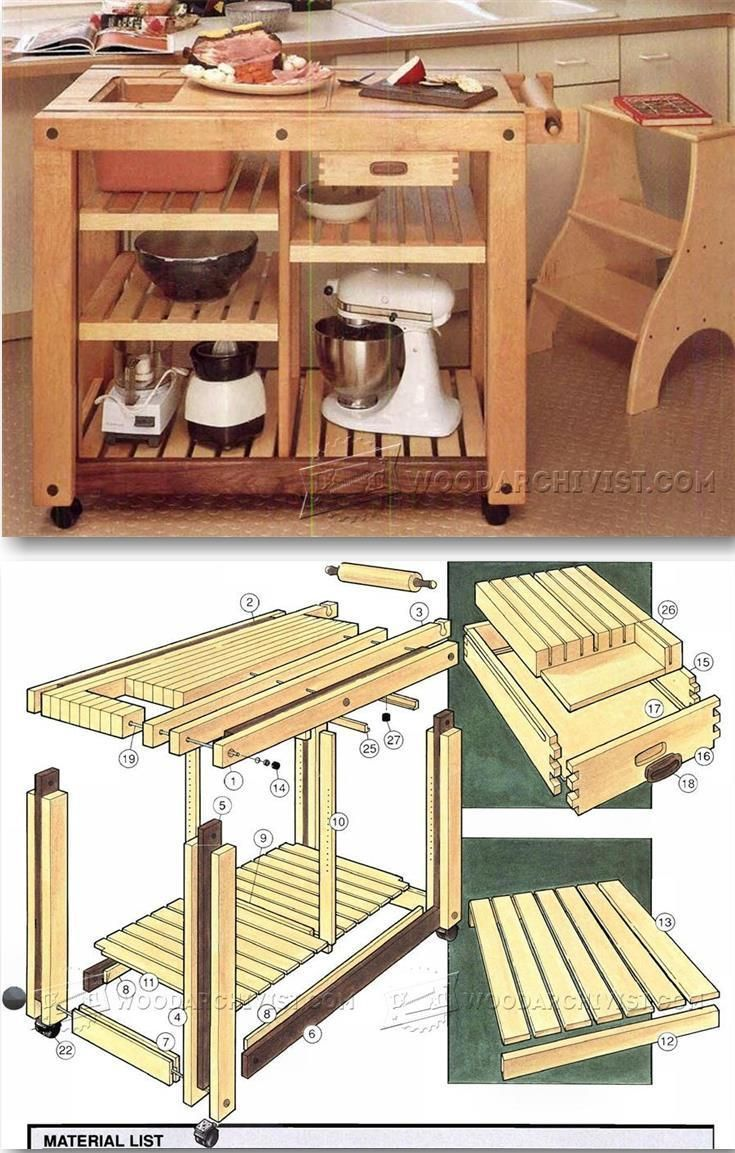 woodworking projects and plans kitchen work tables Kitchen Work Table Plans Furniture Plans and Projects
