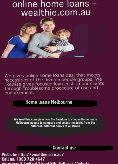 We gives online home loans deal that meets necessities of the diverse people groups. We likewise ...