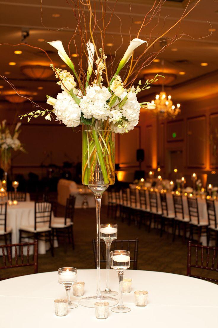 tall centerpieces tall wedding centerpieces Calla Hydrangea Orchid Willow Centerpiece Tall Wedding