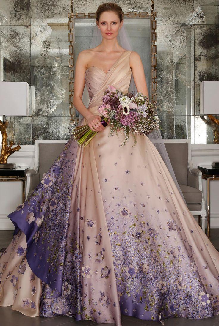 red weddings wcolors lavender wedding dress One shoulder champagne ballgown with lavender floral details Romona Keveza Spring https
