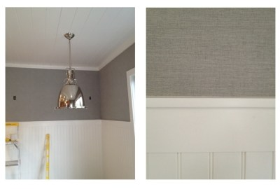 synthetic grasscloth wallpaper installed above the chair rail. In addition to being wipe-able ...