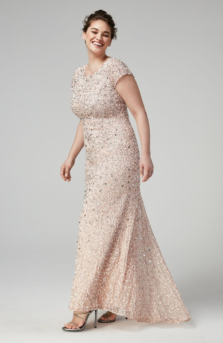mother of the bride or groom formal dresses for weddings Embellished Scoop Back Gown with Blush All over Sequins and short sleeves Designed by