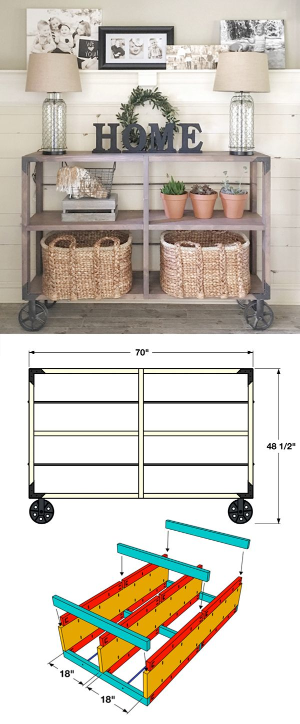 console table decor kitchen console table DIY Industrial Cart Console Table