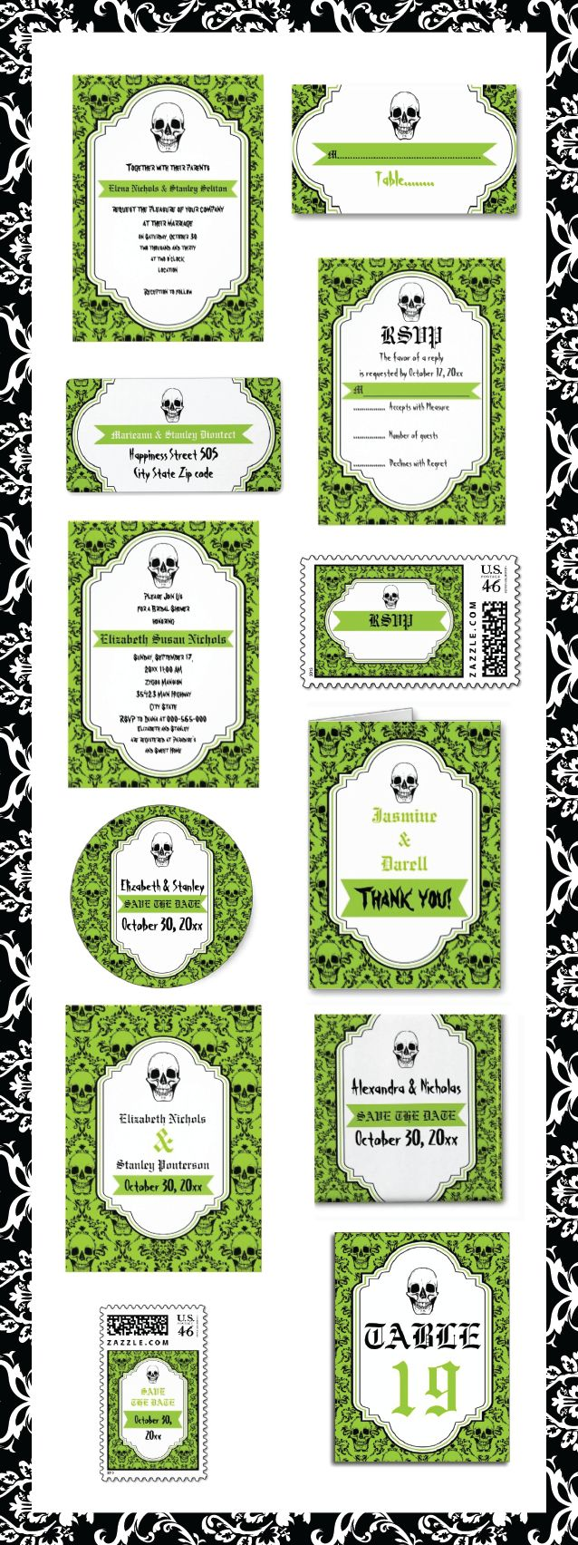 skull halloween wedding theme skull wedding invitations Skulls damask green black Halloween Gothic wedding invitations and matching stationery weddinginvitations