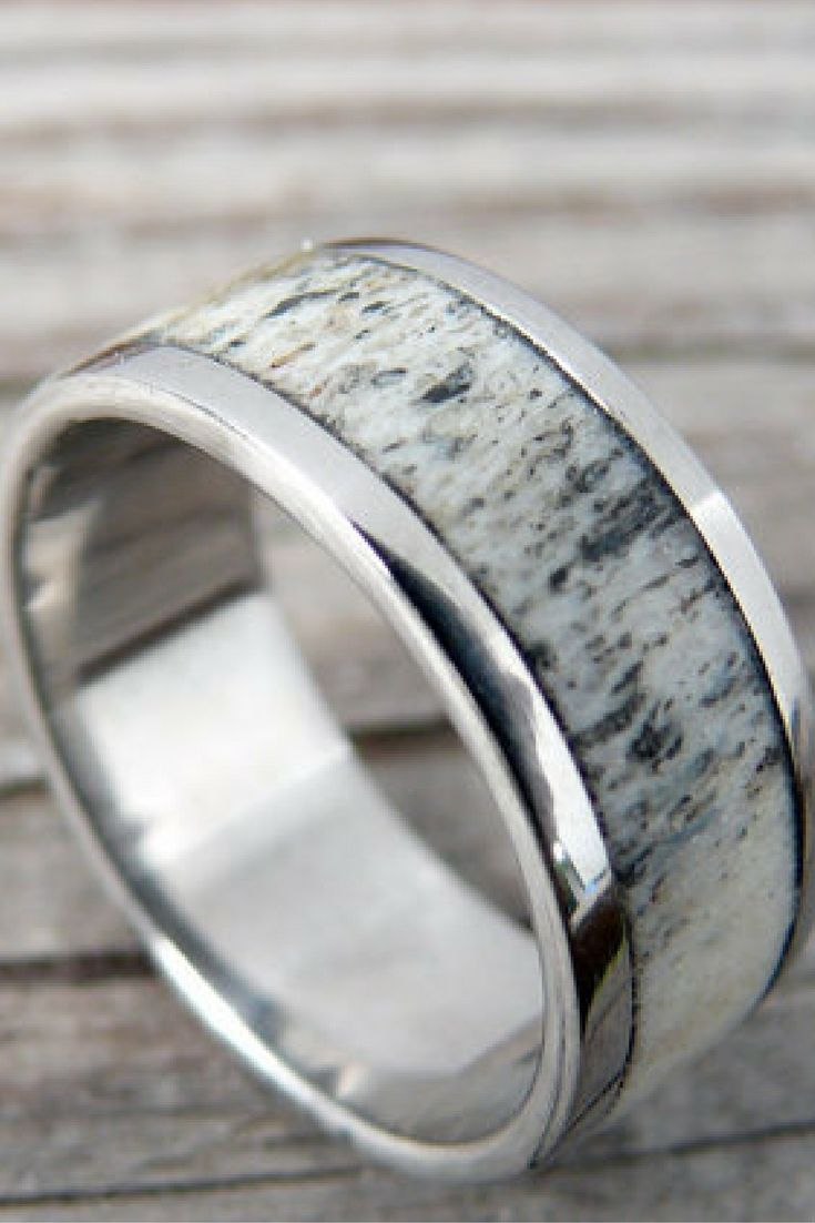 deer antler ring antler wedding band Mens Silver Titanium Deer Antler Wedding Ring