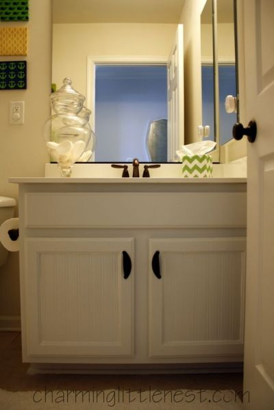 Painted Bathroom Cabinets: A Fresh Update with Paint and Beadboard Wallpaper | Painted Furniture ...
