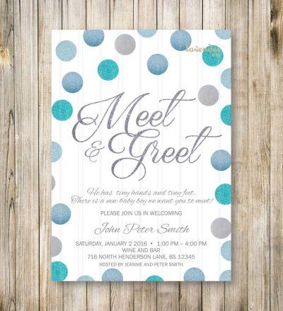 MEET and GREET Invitation, Silver Blue Glitters Meet the ...