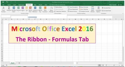 Formulas Tab - The Ribbon - Excel 2016 Tutorial | Excel 2016 | Pinterest | The ribbon, Watches ...