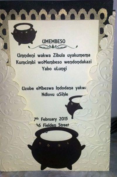 Traditional Zulu Invitation - Umembeso. Copyright ...