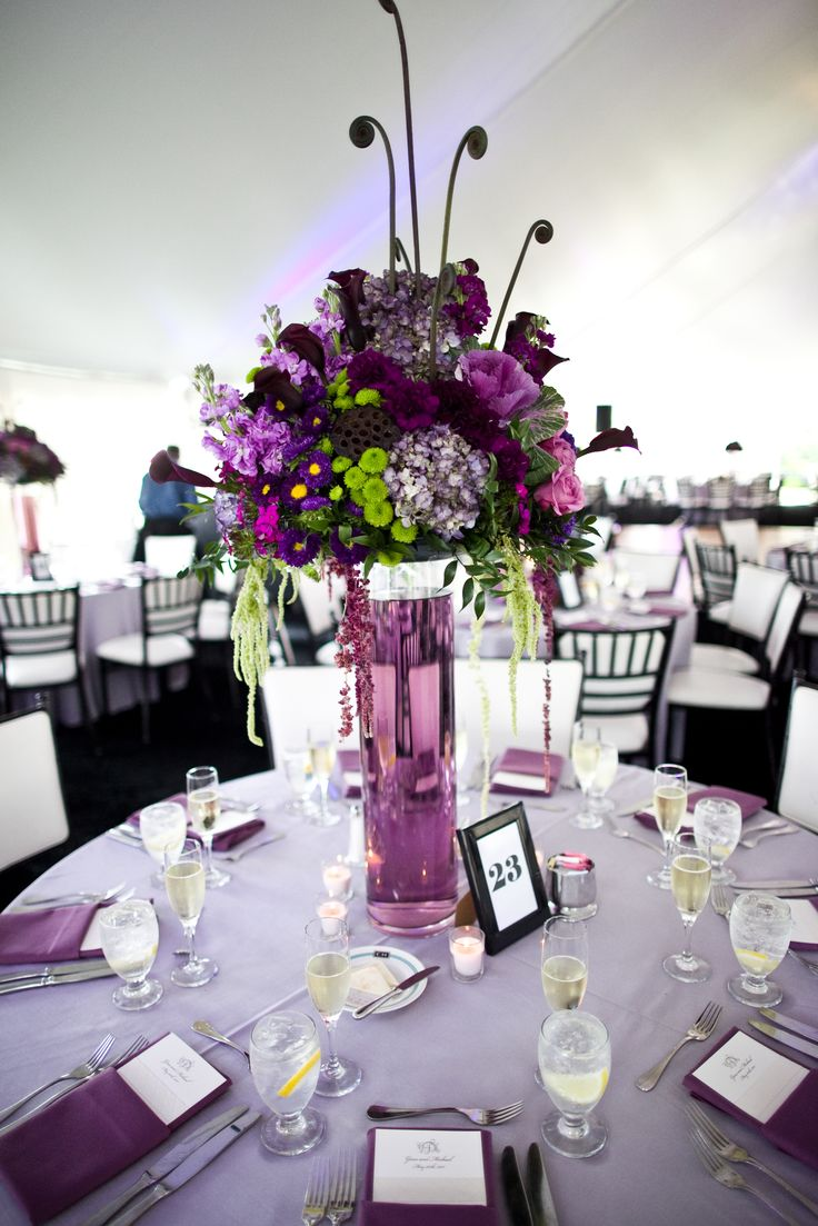 purple flower centerpieces centerpieces for wedding Tall Centerpieces Wedding of Gina and Mike Tent on lawn of Congress Hall
