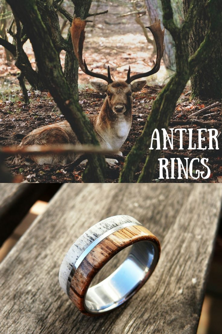 deer antler ring antler wedding band Mens antler rings These wood antler rings make the perfect mens wedding band Made